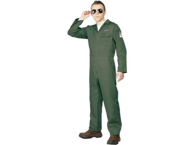 Airplane Aviator Khaki Jumpsuit Costume Adult Large