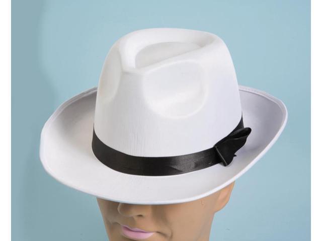White Satin Fedora Adult Costume Hat