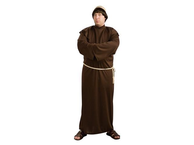 Brown Monk Robe With Bald Head Costume Adult Plus Plus Size