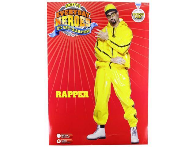 PVC Bright Yellow Rapper Suit Costume Adult Large