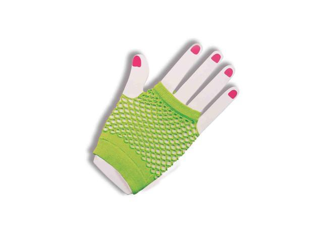 80's Neon Green Fingerless Fishnet Adult Costume Gloves One Size