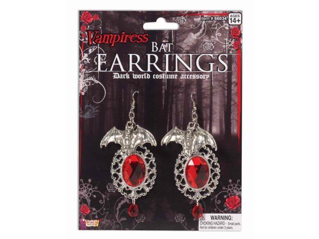 Gothic Vampiress Bat Earrings Costume Jewelry