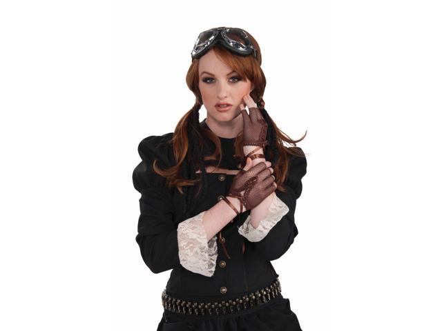 Steampunk Fingerless Brown Fishnet Gloves Costume Accessory