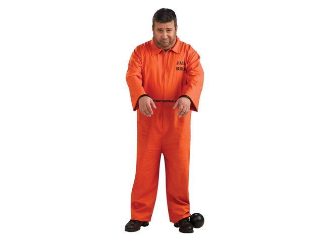 Orange Prisoner Jail Bird Inmate Jumpsuit Costume Adult Plus Plus Size