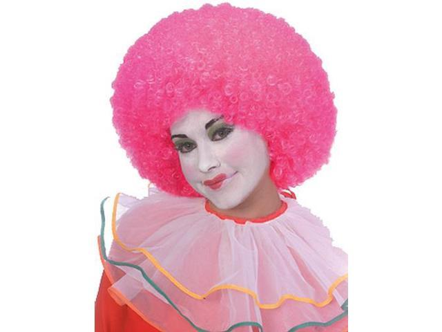 Clown Curly Afro Adult Costume Neon Pink Wig