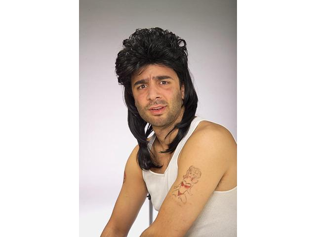 Retro 80's Mullet Black Adult Costume Wig