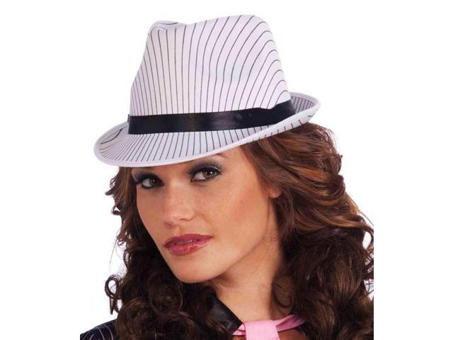 Ladies Adult Costume White Pinstripe Fedora Hat With Black Band One Size