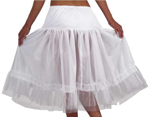 White Tea Length Costume Crinoline Slip Adult One Size Fits Most