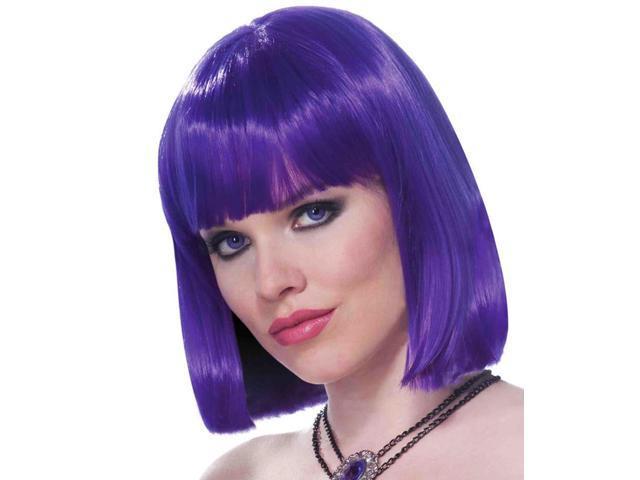 Medium Length Sleek Neon Purple Adult Costume Wig With Bangs One Size