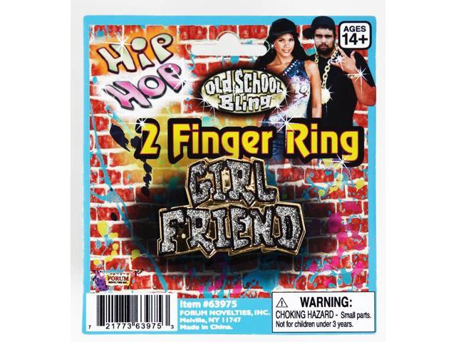 Hip Hop Girlfriend Plastic Costume Two Finger Ring