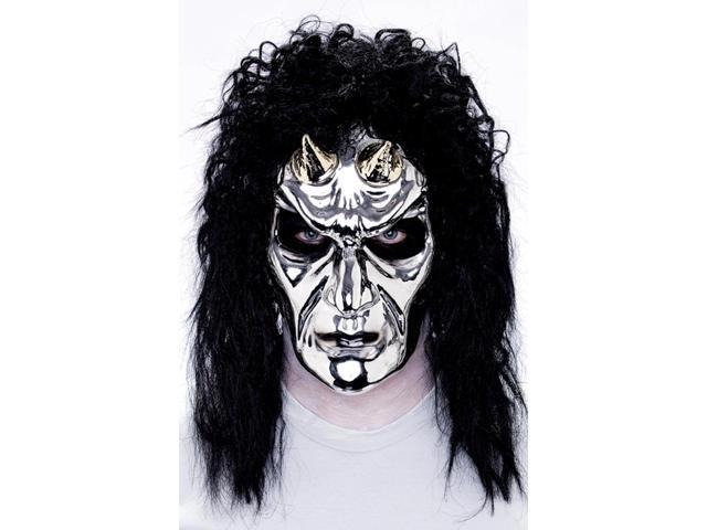 Maniacs PVC Molded Silver Horn Devil w Black Hair Adult Costume Mask