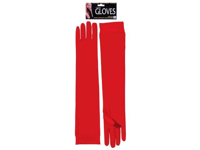 Glamorous Red Elbow Length Adult Nylon Costume Gloves One Size