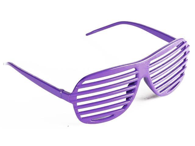 Neon Purple Rapper Costume Slat Glasses One Size