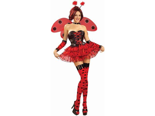 Red & Black Polka Dot Lady Bug Thigh Highs Hosiery Costume Accessory