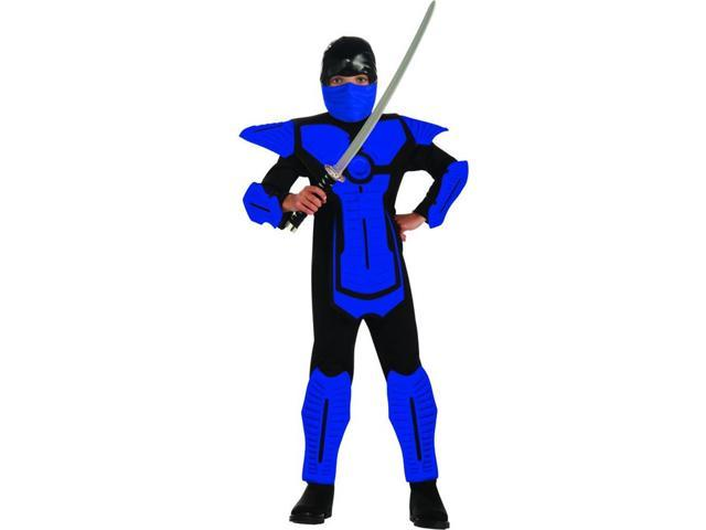 Blue Ninja Molded Armor Jumpsuit Costume Child Small 4-6