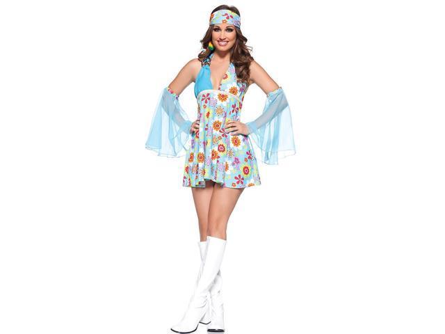 Free Spirit 70's Hippie Girl Mini Dress Costume Adult Large