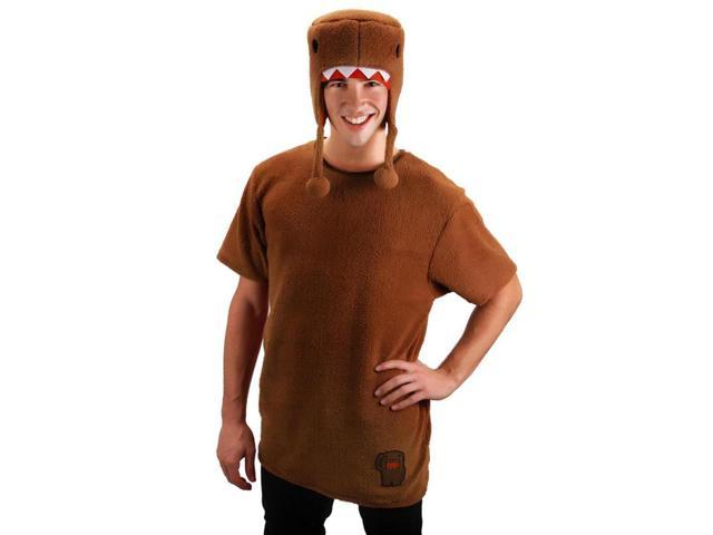 Domo Shirt & Hat Costume Set Brown Adult Small/Medium