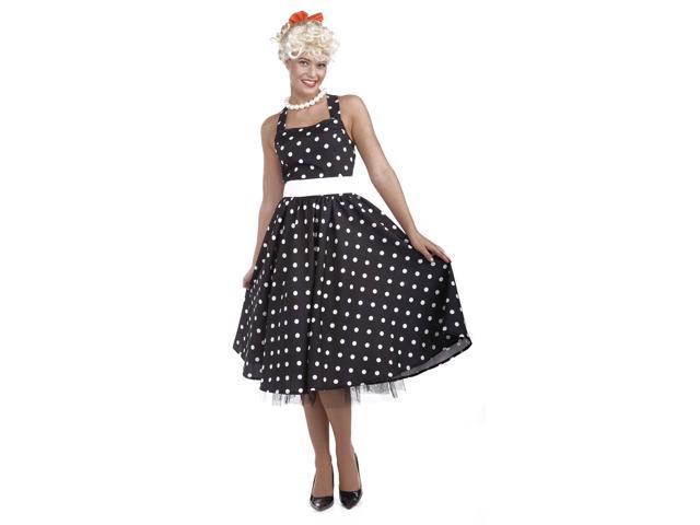 50's Black & White Dot Dress Costume w/Crinoline Adult Medium/Large