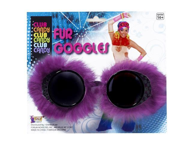 Club Candy Fur Goggles Costume Eyewear Adult: Purple One Size