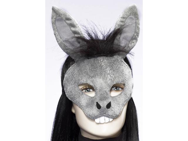 Deluxe Fuzzy Animal Mask Adult: Donkey One Size
