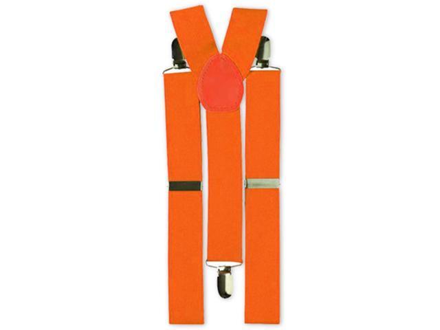 Neon Orange Adult Costume Suspenders One Size