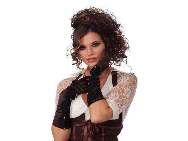 Long Brown Steampunk Costume Gloves With Gold Button Detail One Size