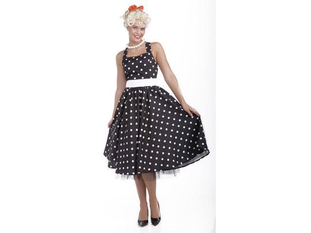 50's Cutie Black & White Polka Dot Dress Costume w/Crinoline Adult X-Small/Small 2-6