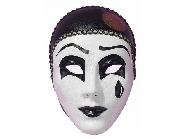 Black & White Pierot Mardi Gras Costume Full Mask