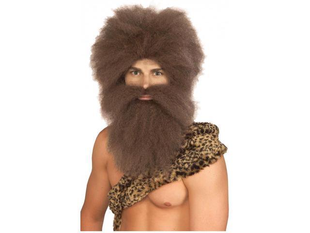 Caveman Brown Wig & Beard Adult Costume Set
