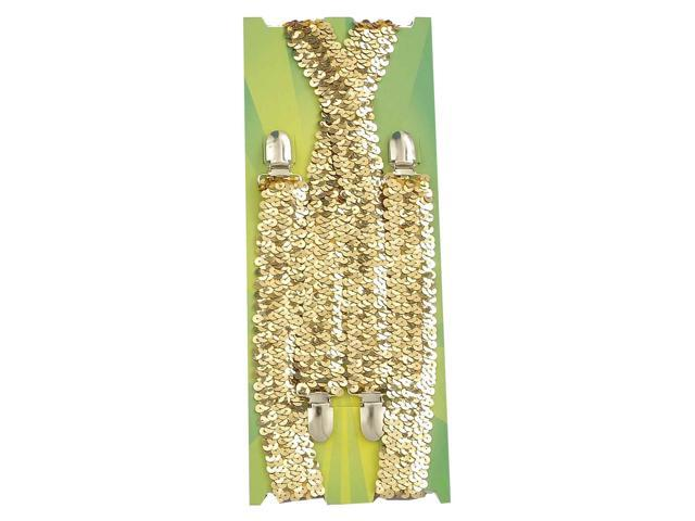 Sequin Costume Suspenders Adult: Gold One Size