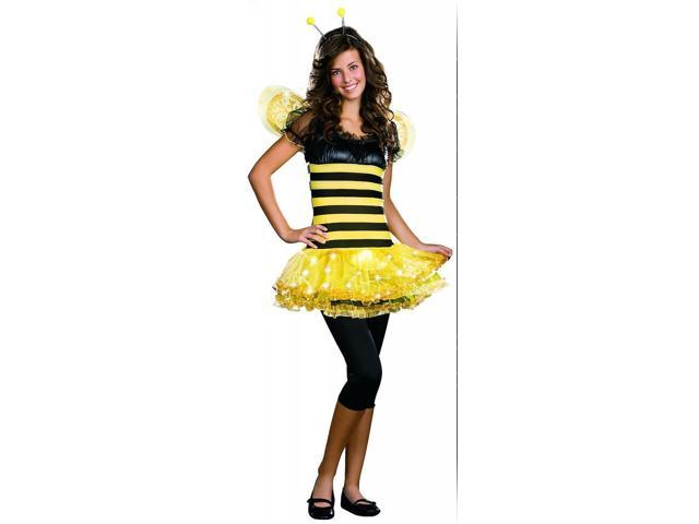 Sexy Busy Lil' Bee Bumblebee Light Up Costume Teen Adult X-Small