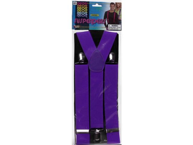 Neon Purple Adult Costume Suspenders One Size