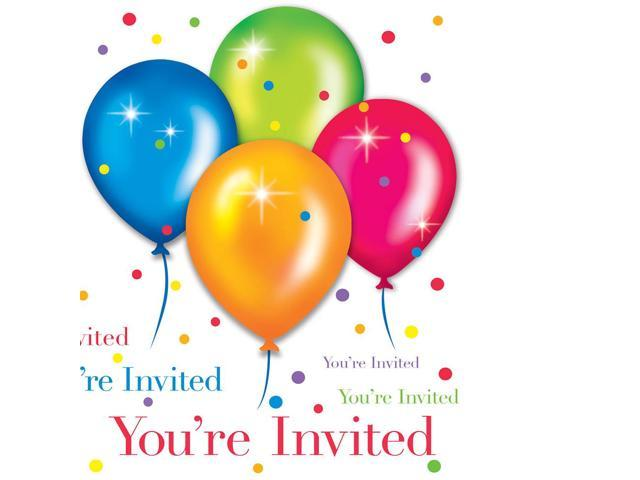 Invitation Card With Envelope 8 Pack Birthday Balloons