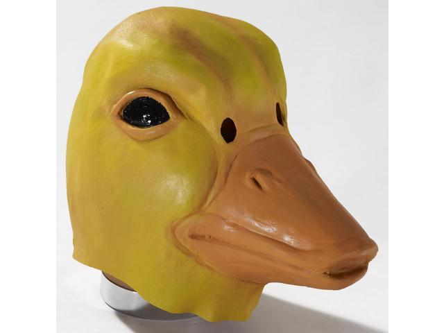 Deluxe Latex Animal Mask Adult: Yellow Duck One Size