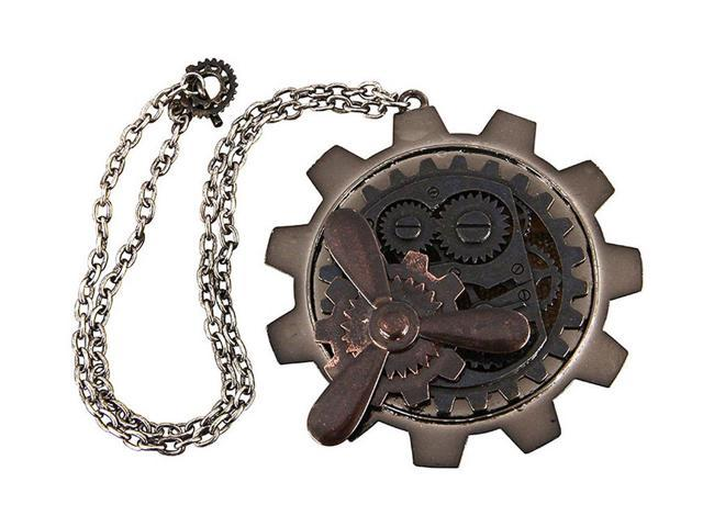 Steampunk Large Gear/Propeller Necklace Antique Costume Jewelry