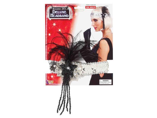 Silver Sequin Adult Costume Flapper Headband With Black Feathers One Size
