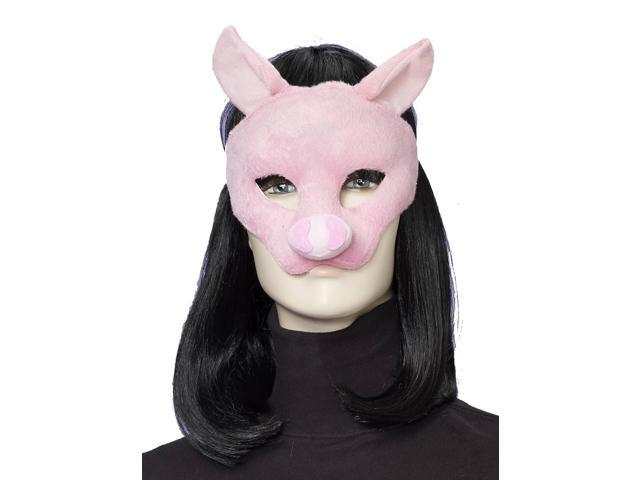 Deluxe Fuzzy Animal Mask Adult: Pig One Size