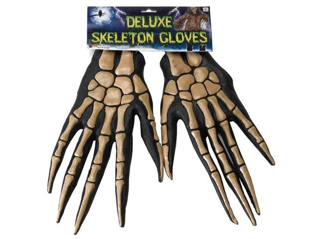 Deluxe Skeleton Bone Adult Costume Gloves One Size