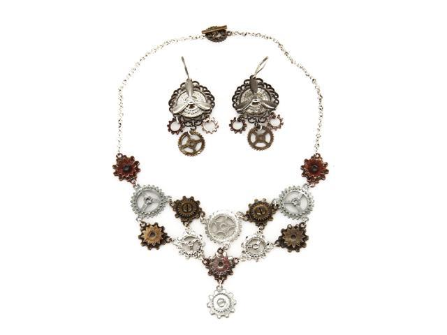 Steampunk Multi Gear Costume Necklace & Earrings Set Adult One Size