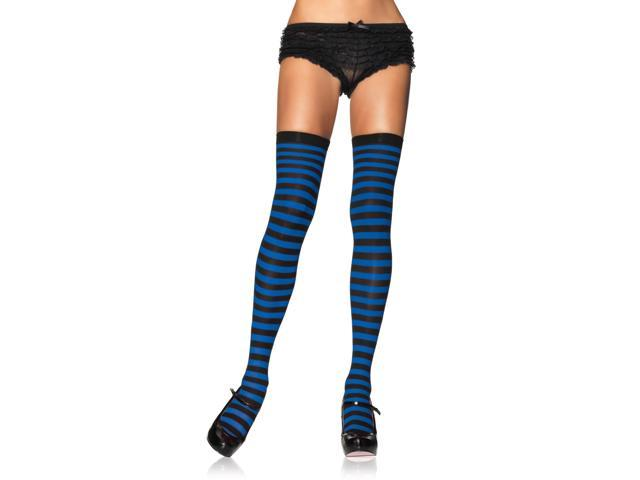 Black & Royal Blue Nylon Striped Costume Thigh High Stockings Adult One Size