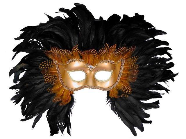 Mardi Gras Venetian Costume Eye Mask Gold w/Black Feathers One Size