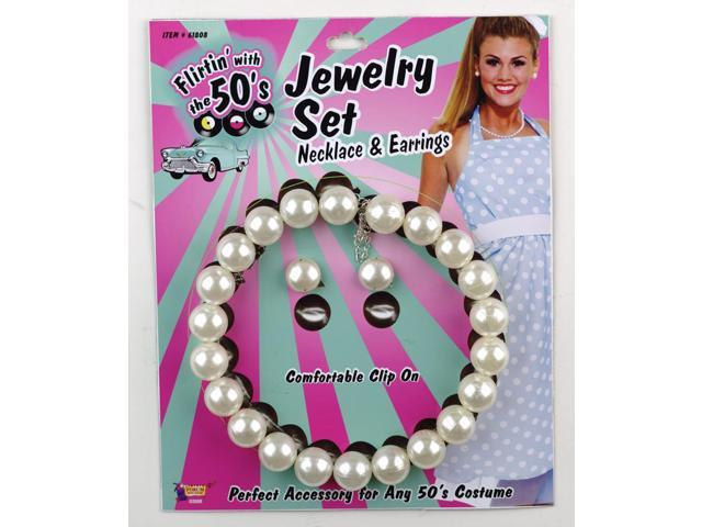 50's Pearl Necklace & Earrings Costume Set