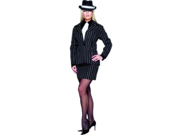 Black Pin Striped Gangster 20's Lady ZootSuit Dress Costume Adult Small