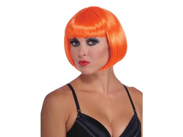 Neon Orange Sassy Bob Adult Costume Wig With Bangs One Size
