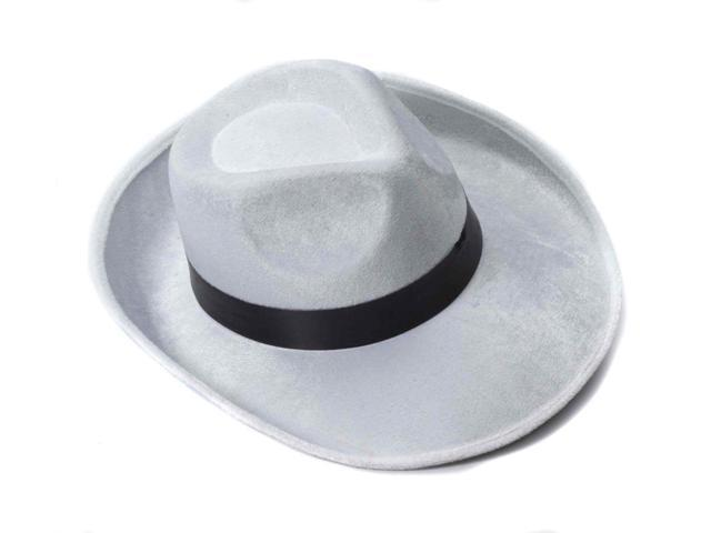 White Velvet Gangster Hat w/Black Band Costume Accessory