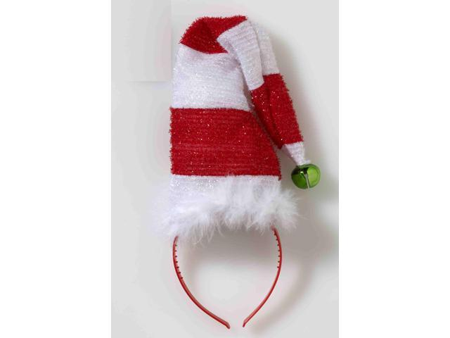 Striped Santa Hat with Bell Costume Headband One Size