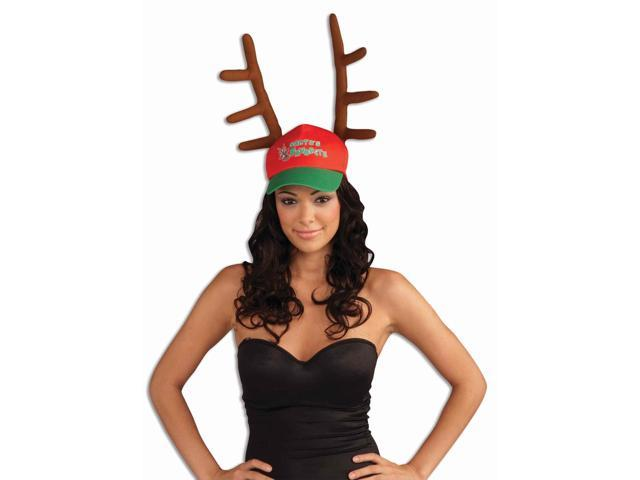 Santa's Favorite Cap With Antlers Hat One Size Fits Most