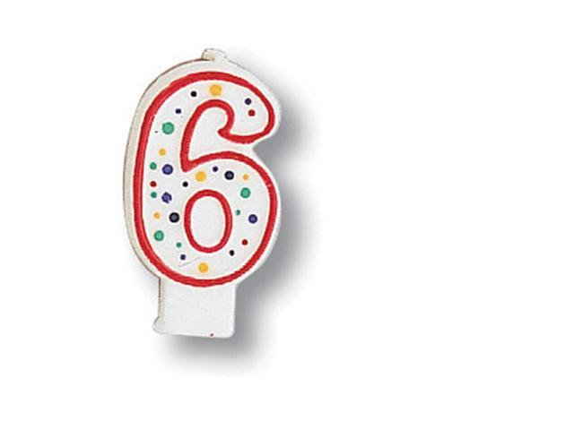 Polka Dot Numeral Candle #6