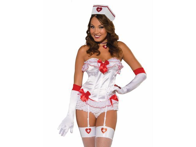 Sexy Nurse White & Red Costume Corset Adult One Size Fits Most