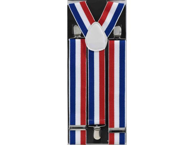 Patriotic Red, White, And Blue Striped Adult Costume Suspenders One Size Fits Most
